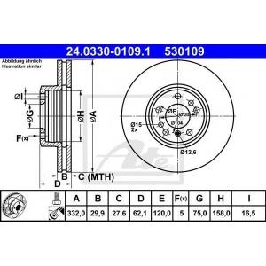 ATE 24.0330-0109.1 Тормозной диск Бмв Х3