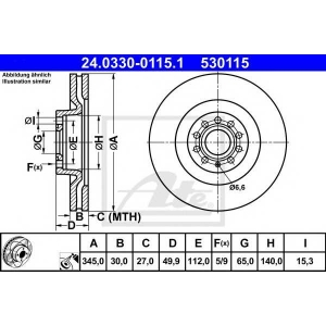 ATE 24.0330-0115.1 Тормозной диск Ауди А3 Спортбек