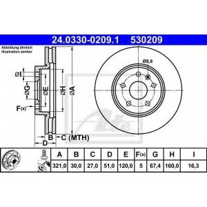 ATE 24.0330-0209.1 Тормозной диск Опель Инсигния