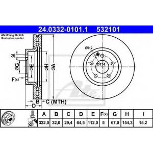 ATE 24.0332-0101.1 Тормозной диск Мерседес Ц-Класс