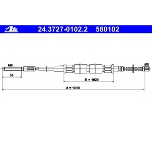 ATE 24372701022 Трос, стояночная тормозная система