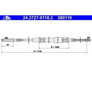 ATE 24372701182 Трос, стояночная тормозная система