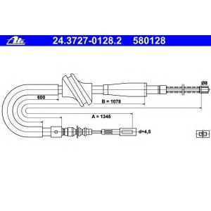 ATE 24.3727-0128.2 Трос стояночной тормозной системы