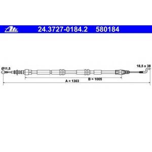ATE 24.3727-0184.2 Трос ручника VW T5 24.3727-0184.2