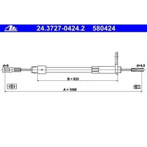 ATE 24372704242 Трос, стояночная тормозная система