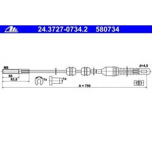 ATE 24372707342 Трос, стояночная тормозная система