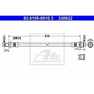 Тормозной шланг 83610505103 ate - MERCEDES-BENZ SPRINTER 3-t c бортовой платформой/ходовая часть (903) c бортовой платформой/ходовая часть 308 D 2.3