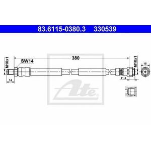 ATE 83.6115-0380.3 ATE przewуd hamulcowy przуd L/P DB CLS/E/S C219/W211/W220 10.98-12.10