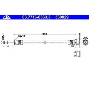 Тормозной шланг 83771603633 ate - MERCEDES-BENZ SPRINTER 2-t c бортовой платформой/ходовая часть (901, 902) c бортовой платформой/ходовая часть 208 D