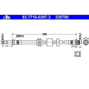 ATE 83.7716-0397.3 83.7716-0397.3 Шланг гальмівний ATE (шт.)