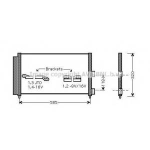 AVA FT 5289 FIAT PUNTO 9/99- Радиатор кондиционера 1.2i 8V, 1.2i 16V (?A) 10/00- [OE. 46799862] 03-