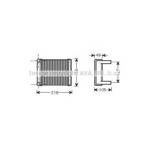 AVA COOLING MSA6385 Радиатор отопителя SPRINTER ALL 95-06 (пр-во AVA)