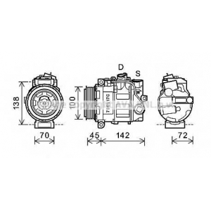 AVA COOLING MSAK613 Компрессор кондиционера MERCEDES C-CLASS W203  00- (AVA)