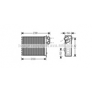 AVA COOLING RTA6398 Радиатор отопителя DACIA; RENAULT; ВАЗ (пр-во AVA)