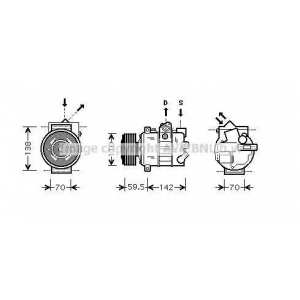 AVA COOLING VWAK220 Компрессор кондиционера AUDI, SEAT, SKODA, VW (Пр-во AVA)