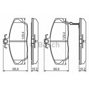 Комплект тормозных колодок, дисковый тормоз 0986424214 bosch - GAZ VOLGA универсал универсал 2.3