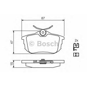 Комплект тормозных колодок, дисковый тормоз 0986424427 bosch - VOLVO V40 универсал (VW) универсал 1.8