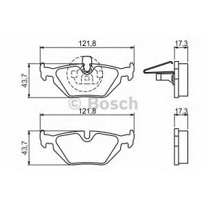 Комплект тормозных колодок, дисковый тормоз 0986424484 bosch - BMW 3 (E36) седан 316 i