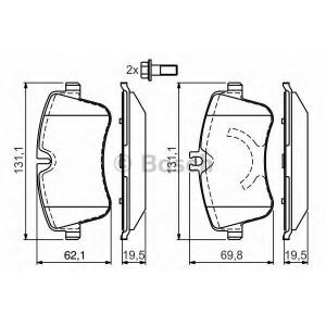 Комплект тормозных колодок, дисковый тормоз 0986424517 bosch - MERCEDES-BENZ C-CLASS (W203) седан C 180 (203.035)