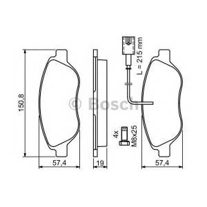 Комплект тормозных колодок, дисковый тормоз 0986424595 bosch - FIAT BRAVO II (198) Наклонная задняя часть 2.0 D Multijet