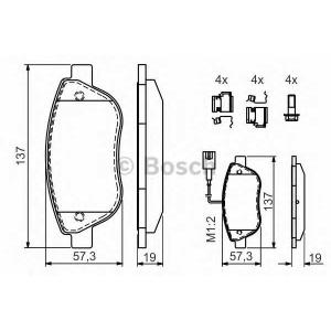 BOSCH 0986424596 Гальмівні колодки дискові FIAT Stilo 1.4,1.6,1.8 16V,1.9 JTD 8V/Grande Punto 1.9 JTD -05