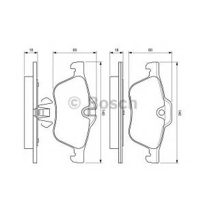 0986424652 bosch Комплект тормозных колодок, дисковый тормоз MINI MINI Наклонная задняя часть One