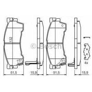 Комплект тормозных колодок, дисковый тормоз 0986424694 bosch - MAZDA 323 F VI (BJ) Наклонная задняя часть 1.6