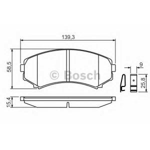 Комплект тормозных колодок, дисковый тормоз 0986424709 bosch - MAZDA E-SERIE фургон (SR2) фургон E2200 D 4WD