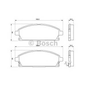 Комплект тормозных колодок, дисковый тормоз 0986424715 bosch - NISSAN PATHFINDER (R50) вездеход закрытый 3.5 V6 4WD