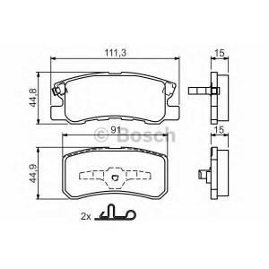Комплект тормозных колодок, дисковый тормоз 0986424717 bosch - MITSUBISHI ASX (GA_W_) вездеход закрытый 1.8 DI-D
