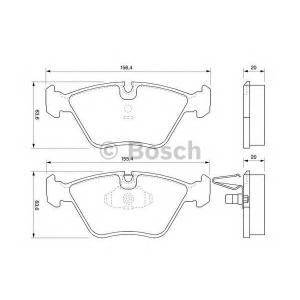 Комплект тормозных колодок, дисковый тормоз 0986424767 bosch - BMW X3 (E83) вездеход закрытый xDrive 20 d