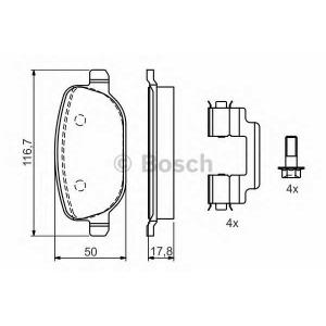 BOSCH 0 986 424 775 Комплект тормозных колодок, дисковый тормоз Лансия