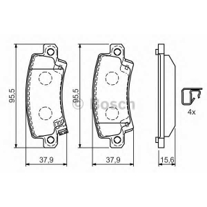 Комплект тормозных колодок, дисковый тормоз 0986424790 bosch - TOYOTA COROLLA (ZZE12_, NDE12_, ZDE12_) Наклонная задняя часть 1.8 VVTL-i TS
