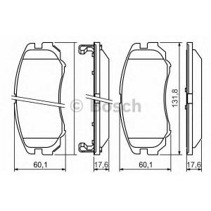 Комплект тормозных колодок, дисковый тормоз 0986424815 bosch - HONDA CIVIC VIII седан (FD, FA) седан 1.8 Flex