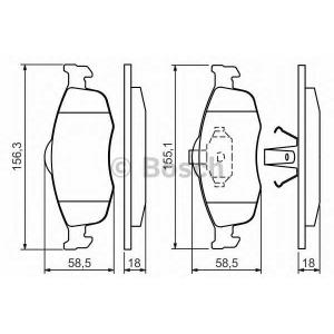 Комплект тормозных колодок, дисковый тормоз 0986460969 bosch - FORD SCORPIO II (GFR, GGR) седан 2.9 i 24V