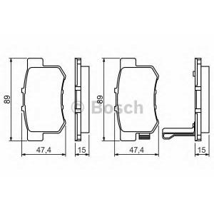 BOSCH 0986461006 Гальмівні колодки дискові HONDA NSX 3.0i, Legend 3.2i,Accord,Civic/ROVER 600 -01