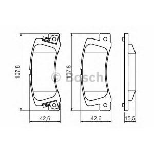 0986461136 bosch Комплект тормозных колодок, дисковый тормоз TOYOTA AVENSIS Наклонная задняя часть 2.0 D-4D (CDT220_)