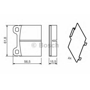 Комплект тормозных колодок, дисковый тормоз 0986466302 bosch - VOLVO S70 (P80_) седан 2.0