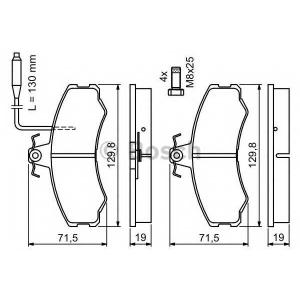 BOSCH 0986467411 Гальмівні колодки дискові CITROEN C25|FIAT Ducato|PEUGEOT J5 -94
