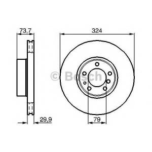 BOSCH 0986478024 Тормозной диск передний BMW E39 520d, 525i, 530d, 530i 00-