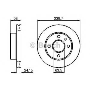 Тормозной диск 0986478148 bosch - FORD ESCORT III (GAA) Наклонная задняя часть 1.6 i (GAA)