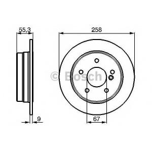 BOSCH 0986478255 Тормозной диск задний MERCEDES-BENZ