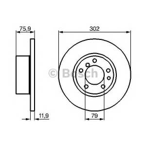 BOSCH 0986478319 Тормозной диск передний BMW 5-serie (E34) (302*12)