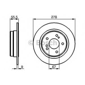 BOSCH 0986478325 Гальмівний диск MB W124 W202 W203 W210 R