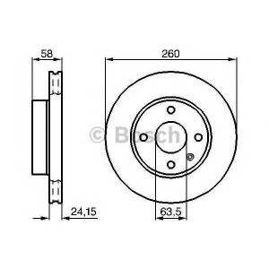 Тормозной диск 0986478346 bosch - FORD ESCORT IV (GAF, AWF, ABFT) Наклонная задняя часть 1.6 Turbo RS