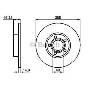 Тормозной диск 0986478545 bosch - AUDI 100 (4A, C4) седан 2.4 D