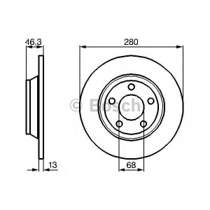 Тормозной диск 0986478615 bosch - AUDI A4 (8D2, B5) седан 1.9 TDI