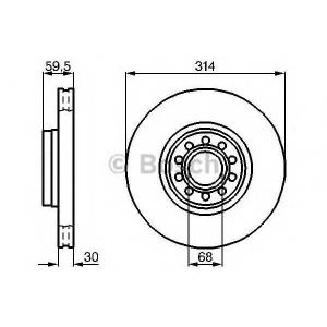 Тормозной диск 0986478617 bosch - AUDI A8 (4D2, 4D8) седан 2.8
