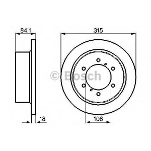 Тормозной диск 0986478713 bosch - MITSUBISHI PAJERO SPORT (K90) вездеход закрытый 3.0 V6 (K96W)