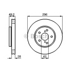 BOSCH 0986478968 Гальмівний диск TOYOTA Camry V30 F
